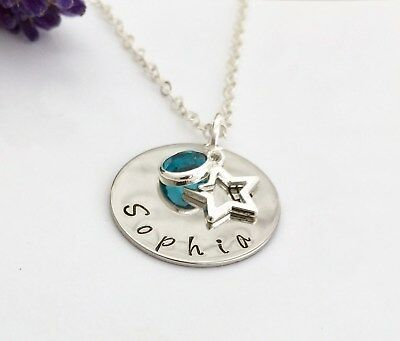 Hand Stamped Name Pendant (Personalized Jewellery Hand Stamped Name Pendant Birthstone & Star Necklace )