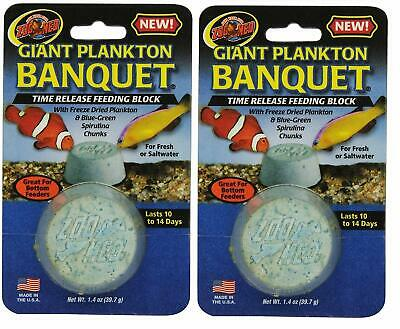 LOT OF TWO - ZOO MED PLANKTON BANQUET GIANT BLOCK TIME RELEASE FEEDER FISH FOOD Fish Food Block