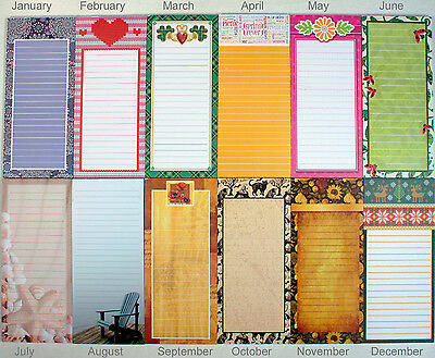 Set of 12 Magnetic Memo Note Pads, Seasonal Monthly Themes (1 Complete - Seasonal Themes