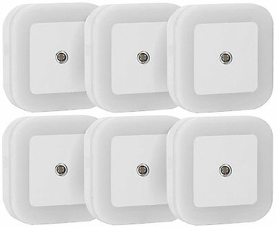 6 Sycees Auto Sensor LED Night Light Plug in with Offset Prongs Wall Lamp White