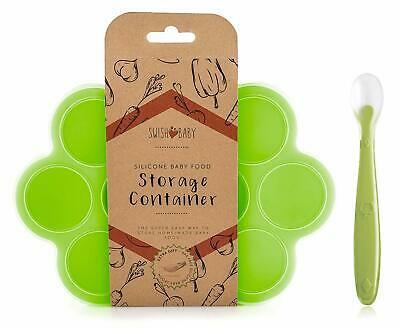 SILICONE BABY FOOD FREEZER TRAY AND STORAGE CONTAINER W/CLIP-ON LID - 10 LARGE C