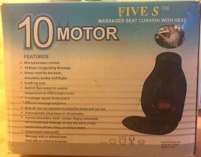 NWB Five S 10-Motor Massage Seat Cushion With Heat -TESTED