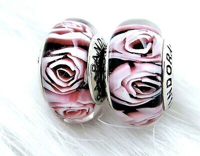 2 Authentic Pandora Murano Silver Pink White Flower Rose  Charm Beads #376