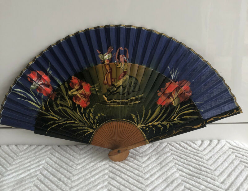 Hand Fan with flowers and flamenco dancers hand painted, Made in Spain Vintage
