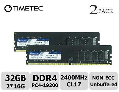 Timetec 32GB Kit (2x16GB) DDR4 2400 MHz PC4-19200 Non-ECC 1.2v CL16 2Rx8 UDIMM.