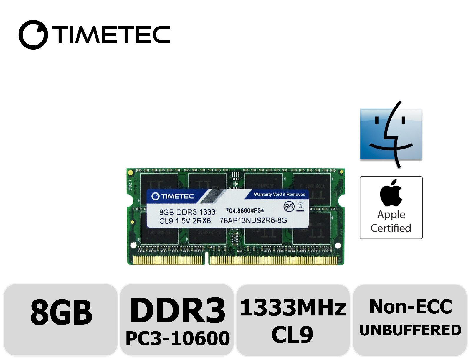 Timetec 2x4GB DDR3 1333MHz PC3-10600 Non-ECC 1.5V 2Rx8 UDIMM Desktop Memory RAM
