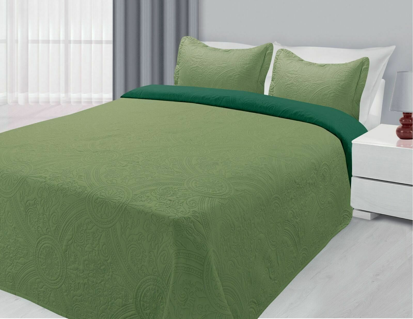 Reversible Quilted Bedspread Embossed 3-Piece Coverlet Bed S