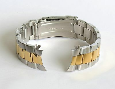 20mm Curved End Oyster Solid Stainless Steel Two Tone Bracelet Watch Band Strap