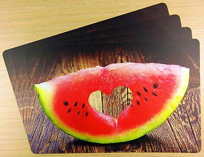 Tischsets Melone mit Herz, PP-Foto,Abwaschbar,Kunststoff,Platzdeckchen 🍴🍷🍉
