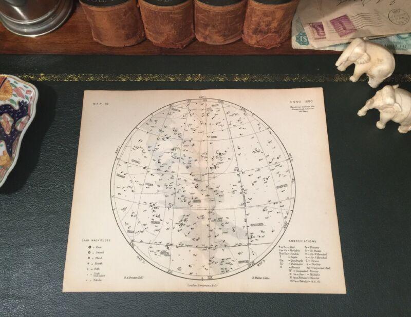 Original 1880 Antique Celestial Astronomy STAR MAP Pegasus Delphin Hercules Lyra