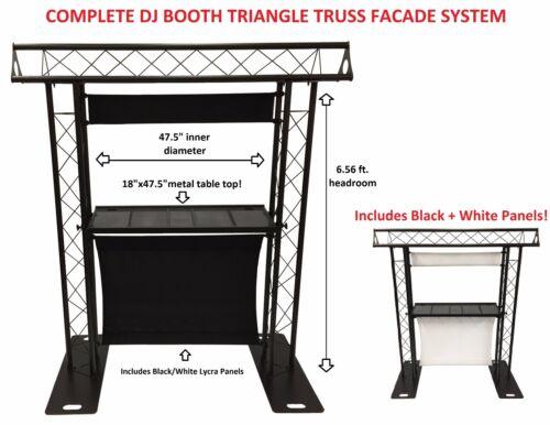 DJ Event Facade White/Black Scrims Triangle Truss Booth 6.56