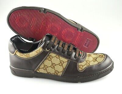 Men's GUCCI 'GG Plus' Brown Leather Sneakers Size US 9.5 - D GUCCI 9 - G