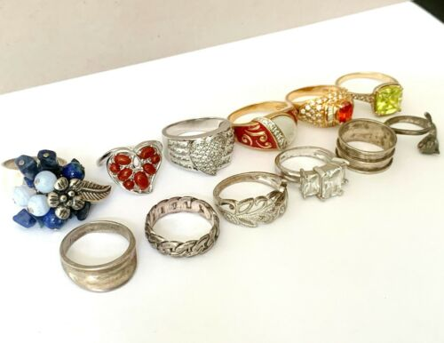 LOT Sterling Silver Ring Group 12 Collection Cocktail Modern Gemstone Designer