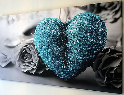 TEAL TURQUOISE LOVE HEART BLACK AND WHITE CANVAS WALL ART PICTURE  18 X 32 INCH