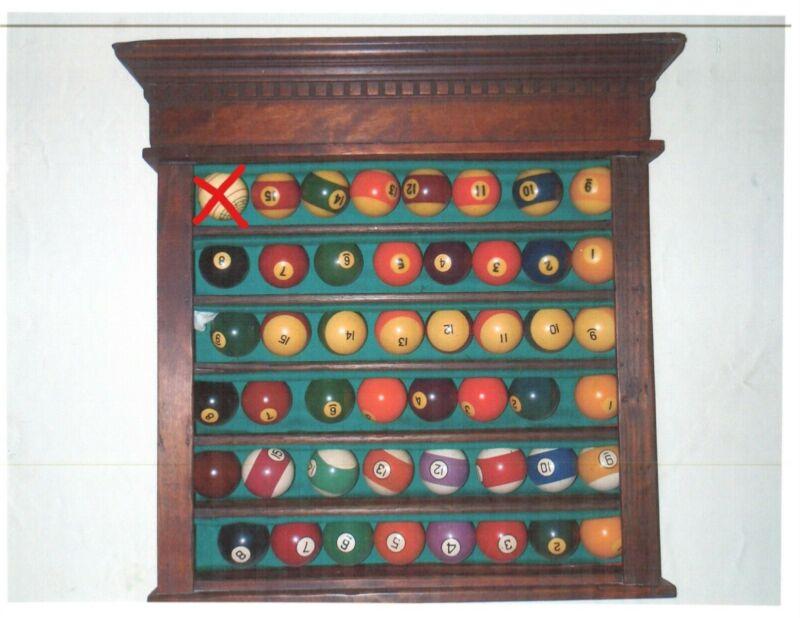 Antique Billiard Ball Wall Rack w/three sets of pool balls