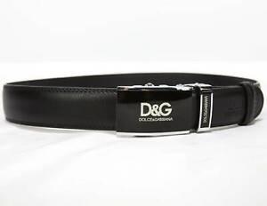 "Dolce & Gabbana  DG Mens Black Leather Belt Automatic Buckle 28""- 34"""