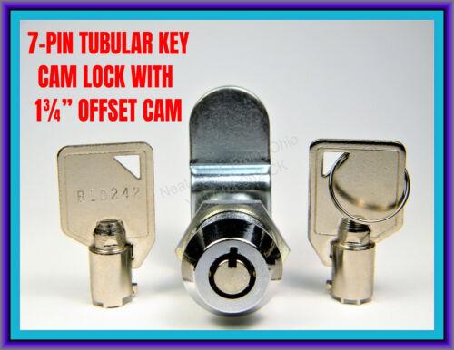 "TUBULAR, 7-PIN OFFSET CAM LOCK with TWO ROUND KEYS (LARGE 3/4"" MOUNTING HOLE)"