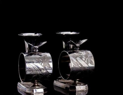 Set of 2 Victorian Silver Plate Figural Napkin Holders Bud Vase #024