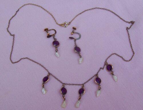 Vtg Antique Victorian R K GOLD Mississippi River Pearl Amethyst Festoon Necklace