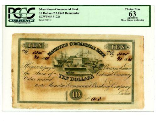 Mauritius ... P-S122r … 10 Dollars … 1843 … *UNC* ... PCGS 63 (UNC) Remainder.