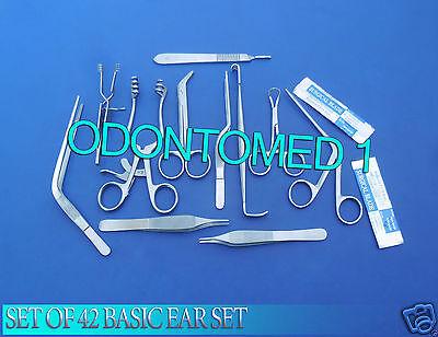 Set Of 42 Basic Ear Set Surgery Instruments Forceps Ent Medical Brand New Ds-819