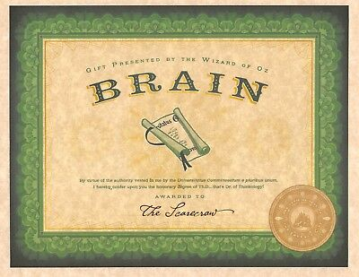 Wizard Of Oz Emerald City Certification Of Brains   The Scarecrow   Prop Replica