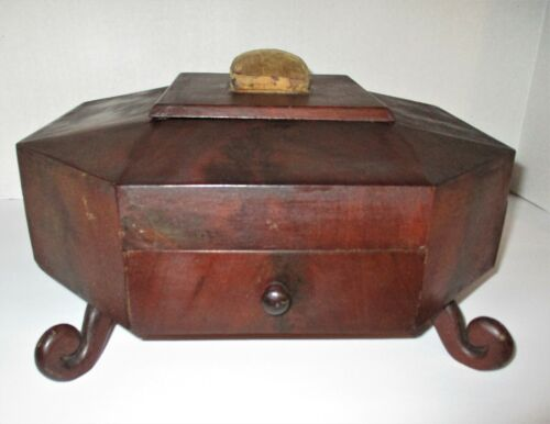 Antique,SEWING BOX, Mahogany, Octagon Shape, Regency, ca 1810-1840, Great Piece!