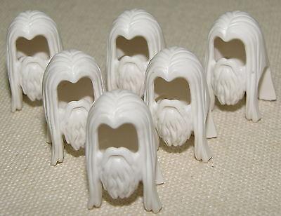 Herr Der Ringe Perücken (Lego Lot Of 6 Gandalf der Weiße Bart Herr der Ringe Minifig Haar Perücke Stück)