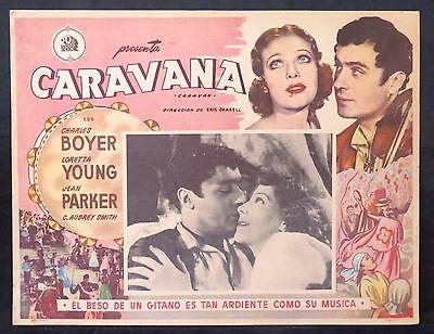 CHARLES BOYER Caravane LORETTA YOUNG 1934 Jean Parker ORIGINAL LOBBY CARD