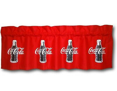 Custom Coca Cola Coke Red Fabric Blackout Valance 14x42 Retro Curtain Soda Pop