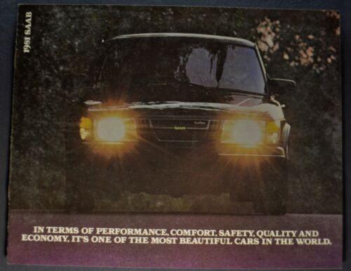 1981 Saab Catalog Sales Brochure 900 S Turbo Excellent Original 81