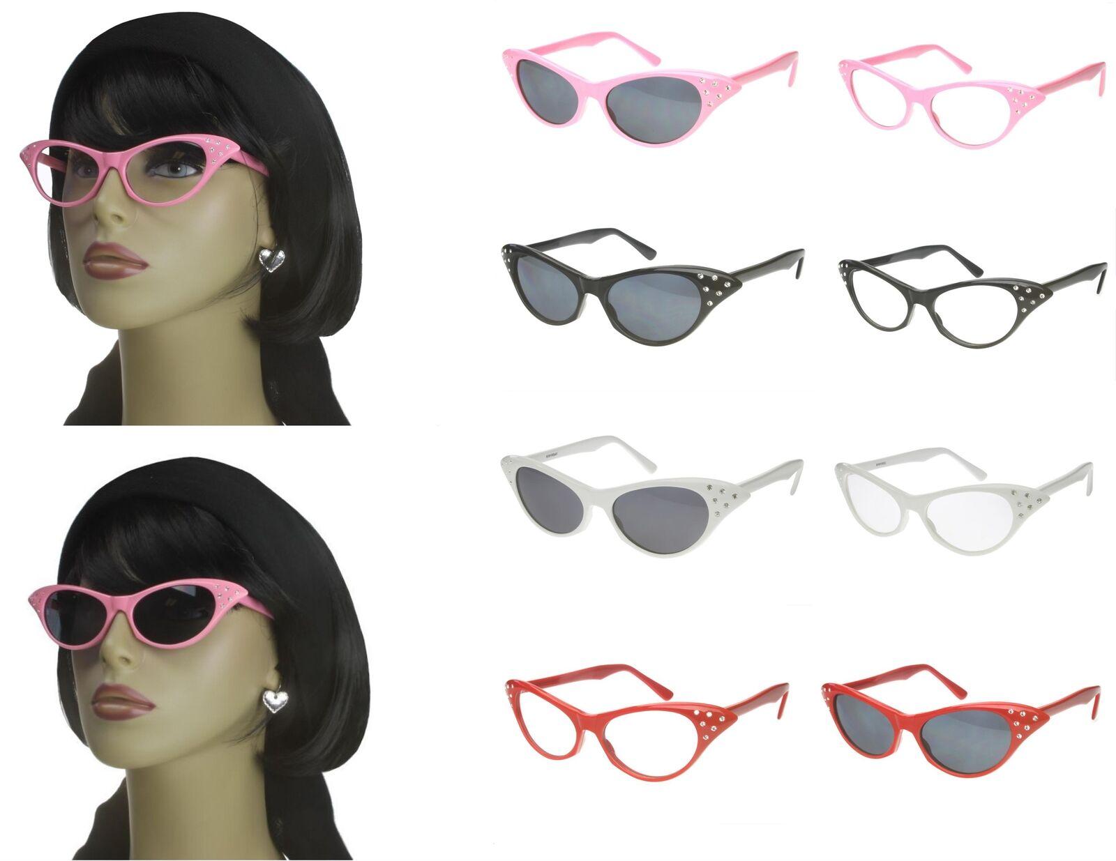 Cat Eye Sunglasses Rhinestone 50s Retro Vintage Style Womens