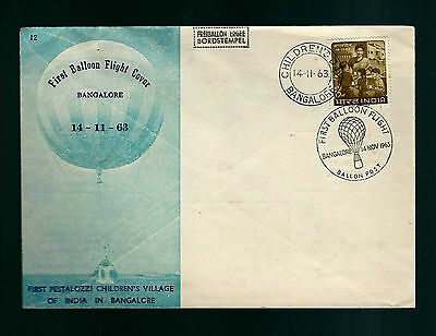 INDIA 1ST BALLOON FLIGHT 1963 COVER WITH SPECIAL POSTMARKS ONLY 99 FLOWN V.RARE