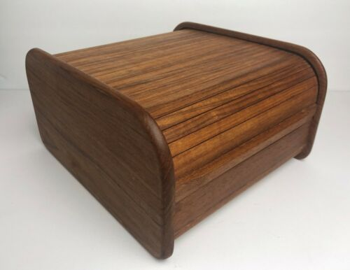 "Vintage MCM Computer PC 3.5"" Floppy Disk Teak Wood Roll Top Storage Case Box"