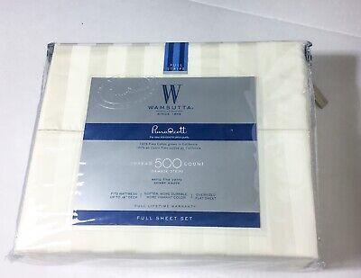 Ivory Damask Stripe - WAMSUTTA Full Sheet Set Cotton Ivory Damask Stripe 500 Thread Count