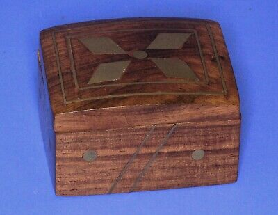 Vintage India wooden treen trinket /ring box brass inlay 6x5x3.5cm [19436]