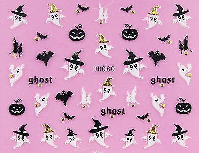 Halloween Black Bat Pumpkin White Ghost GOLD Stud 3D Nail Art Sticker - White Halloween Nails