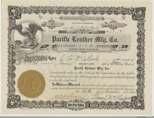 Pacific Leather Mfg. Co. Stock Certificate Auburn Washington