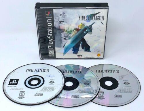 Final Fantasy VII 7 Playstation 1 PS1 PSX Video Game TESTED, Black Label, *READ*