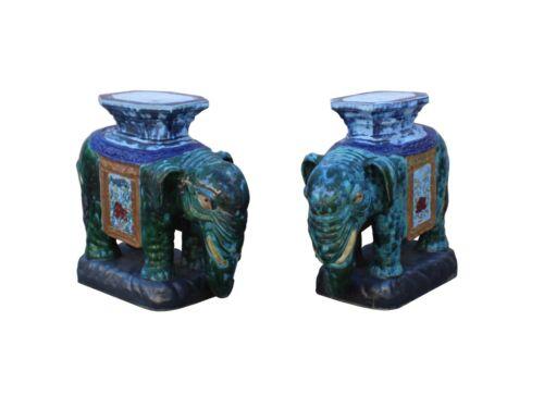 Pair Ceramic Handmade Chinese Green Blue Oriental Elephant Figures cs3622
