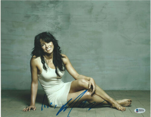 MICHELLE RODRIGUEZ SIGNED 11X14 PHOTO FAST FURIOUS BECKETT BAS AUTOGRAPH AUTO