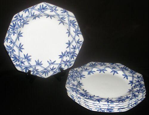 "6 J & G Meakin England Trellis Blue Octagon Dinner Plates 9 5/8"""