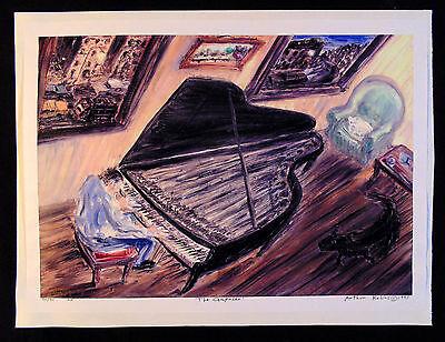 ORIGINAL PRINTArthur Robins NYC Cityscape New York Art Piano player Composer