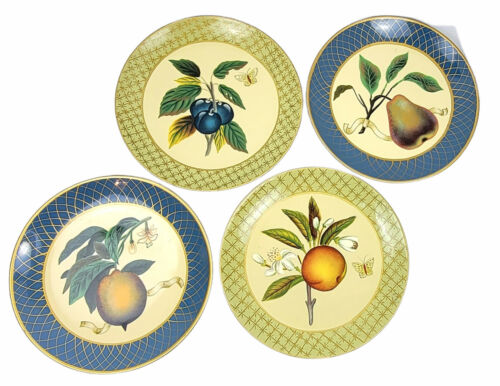 "Raymond Waites Toyo Trading Co 10.25"" Fruit & Butterflies Decorative Plates (4)"