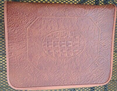 Vintage 40s Embossed Leather Filo Folder 2 Ring Binder Portfolio Star Zipper