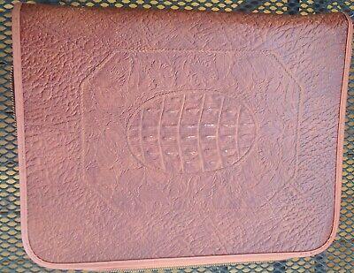 Vintage 40s Embossed Leather Filo Folder 2 Ring Binder Portfolio Star Zipper