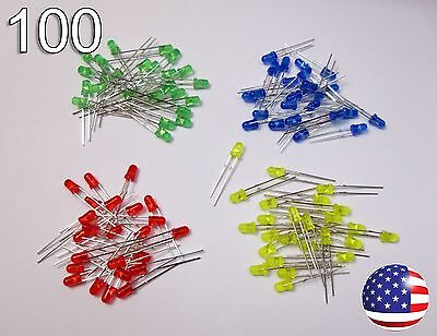 100pcs 3mm Red Yellow Green Blue Diffused Led - Round - 25ea Color Diode Diy Rc