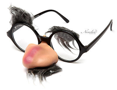 Round Clear Lens Costume Glasses Nose Mustache Thick Eyebrows Groucho Marx  - Groucho Marx Glasses