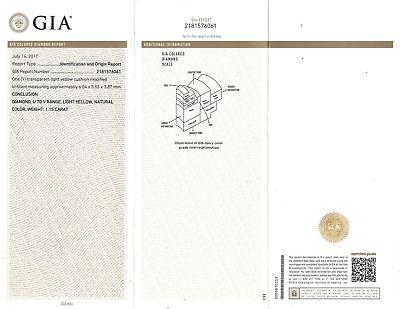 GIA Certified 2.04 Ct Cushion Cut Natural Yellow Diamond Engagement Ring 18k  3