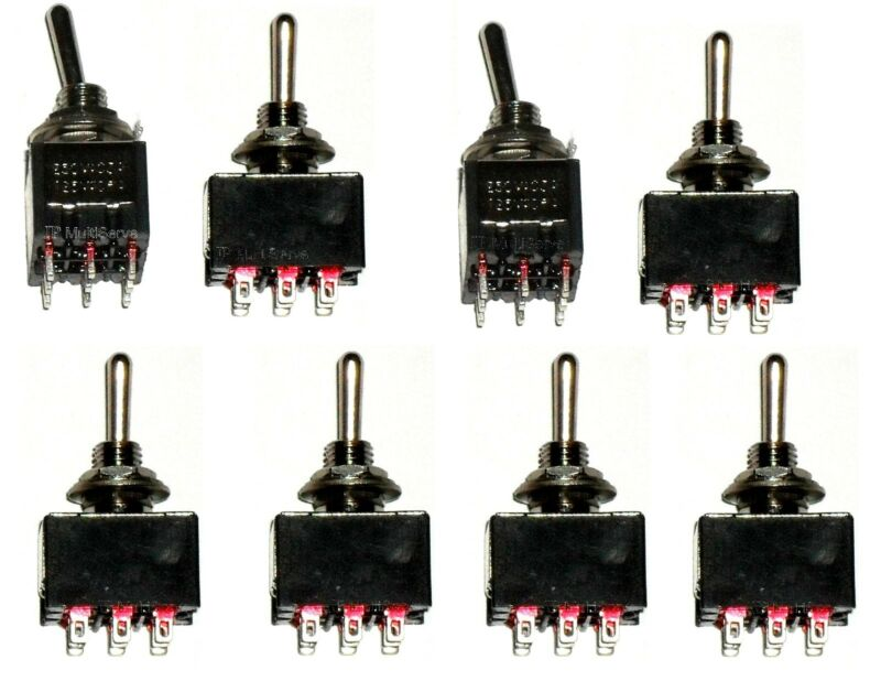 8 ON/ON 3PDT Miniature Toggle Switch Three Pole Double Throw